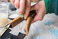 Protecting wooden parts of Hand Shears by applying Danish Oil