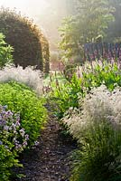 View of the summer borders on a misty morning. Persicaria amplexicaulis 'Rosea', Descampsia cespitosa 'Tardiflora', Astrantia major 'Buckland'