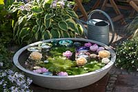 Small water feature - bowl with floating candles and roses