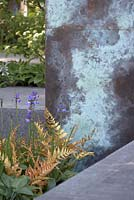 The Brewin Dolphin Garden. Detail of patinated copper archway with ferns, Iris and Hosta. Chelsea Flower Show 2014.