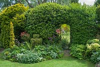 Immaculate small garden with neatly trimmed shrubs and mirror set within hedge to imply an opening. Taxus baccata 'Fastigiata Aureomarginata', topiary box, brunnera, berberis, alliums, hellebores, hardy geraniums, epimedium.