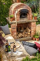 Sunken seating area with brick pizza oven, 'A Fruity Story', show garden, RHS Malvern Spring Festival 2014