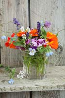 Edible flowers in glass jar - inc calendula, nasturiums, borage, chives, lavandula and violas