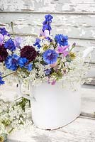 Summer flowers displayed in white enamel watering can - centaurea cyanus, lathyrus odorata, ammi major, papaver seedheads and delphinium
