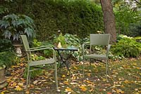 Fallen tree leaves and green wicker chairs and table in a backyard garden in autumn. Hosta - Plaintain lily plants in the background. Il Etait Une Fois garden, Monteregie, Quebec, Canada.