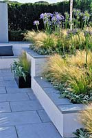 Raised beds planted with grasses and agapanthus in a low maintenance contemporary garden. Description: Vogue. Designer: Belinda Belt Sponsor: London Stone Crowder's Nursery