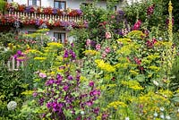 Bavarian farmers house with window box decorated balconies. Plants include Alcea, Anethum graveolens, Calendula officinalis, Clematis and Malva sylvestris