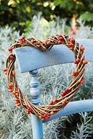 Heart shaped wreath with rose hips from rosa 'Treasure Trove'