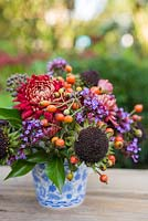 Floral display of rose hips, helianthus seed heads, verbena and chrysanthemum in blue and white tea cup