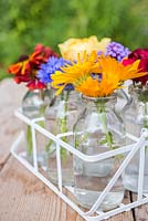 Floral display of centaurea cyanus - cornflower, verbena bonariensis, helenium and calendula - Pot marigold in small glass jars