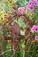 Rosehip wreath hanging on the wooden fence.
