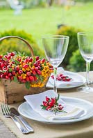 Table place setting featuring the use of Rosa - Rose hips and Pyracantha berries, with a view to the garden