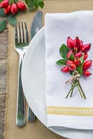 Table place setting featuring the use of Rosa - Rose hips