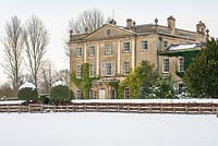 Highgrove House and Garden in snow, January 2013. The house was built in a Georgian neo-classical design between 1796 and 1798.
