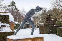 Borghese gladiator statue, Highgrove Garden in snow, 21 January 2013