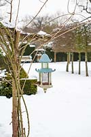 A bird feeder, Highgrove in snow,  January 2013.