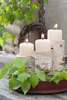 Candle holders made from Betula - birch bark and branches for decoration