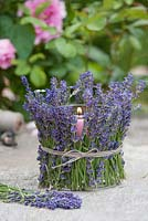 Candle in glass clad in lavender flowers -  Lavandula