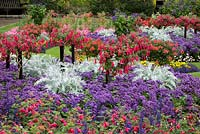 Colourful flowerbed with pergola