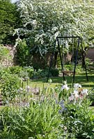 Cottage garden in early Summer with garden swing