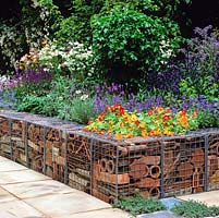 Low retaining wall made from galvanised cages filled with reclaimed terracotta pipes, tiles and pots. Raised bed of nasturtium, lavender, salvia, borage, aquilegia.