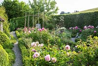 Embedded in a hilly landscape and enclosed by hornbeam hedges, a rural garden with box edged borders containing flowers, vegetables and salads. The paths are mulched with gravel.