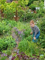 Alys Fowler, gardener, author and TV presenter, works in her 18m x 6m back garden where she grows a mix of fruit, herbs, decorative flowers and vegetables in packed borders.