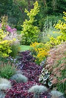 Mixed borders at Foggy Bottom, Bressingham Gardens, Norfolk, UK in September.
