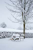Garden furniture buried under snow, in the background, a hedge and winter landscape