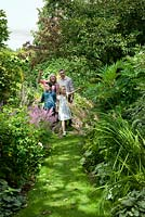 Family enjoying a day out at Carolside Garden, Earlston, Berwickshire, Scotland