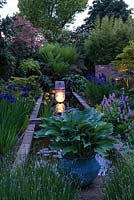 Lit at night, long pool edged in hostas, lavender, Hakonechloa macra, Persicaria bistorta Superba, Iris sibirica Caesar's Brother and male ferns. Left border - maple, bamboo, Koelreuteria paniculata, huge flowering photinia. Pond sculpture by Peter Hayes.