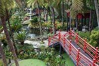 Oriental garden with series of ponds and a Japanese tea house at Monte Palace Tropical Garden, Madeira