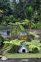The lush vegetation fringing the Central Lake at Monte Palace Tropical Garden, Madeira, with tree ferns, and a decorative duck house
