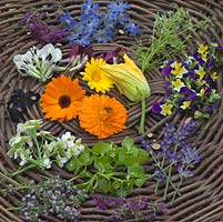 Freshly picked edible flowers to include borage, marigold, courgette, thyme, lavender, borage, bean and viola.