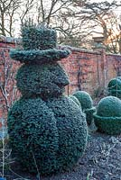 Snowman topiary at Helmingham Hall, Suffolk