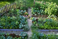 Kitchen garden with raised beds and paths.