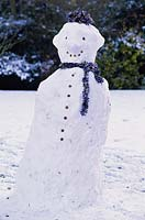 Snowman with tinsel scarf, Robinson College, Cambridge