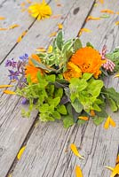 Floral bouquet of Calendula officinalis 'Art Shades', Sage and Borage