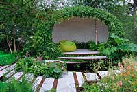 Contemporary pavilion with living green roof and walls, front border with Verbascum 'Firedance', Geum 'Totally Tangerine' - The Macmillan Legacy Garden, RHS Hampton Court Flower Show 2015