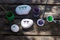 Painting pebbles as seed markers