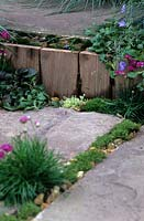 Wooden edging to path