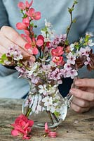 Blossom posie step by step in March: Pink cherry blossom is placed first, followed by a white blackthorn blossom and stems of Japanese flowering quince.