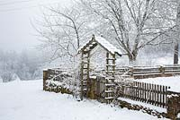 Farmer's garden with wooden fence and rose arch in winter, Juglans regia