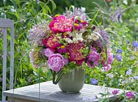 Bouquet with Paeonia, Allium, Filipendula, Alchemilla, Chrysanthemum coccineum and grasses