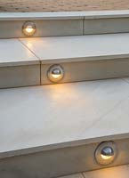 Lighting feature built into the marble steps