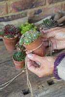 Use string to create a tight pocket to sit the terracotta pots in