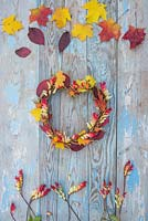 Autumnal heart shaped wreath constructed from Rose hips, Mina lobata and Autumnal leaves