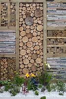 Wall detail in 'The Cloud 9 Kitchen Garden', one of the back to back gardens at RHS Tatton Flower Show 2015