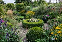 A suburban garden with a circular structure created by shaped box and paving. Two Photinia x fraseri standards divide the garden and provide height. Deep borders of mixed planting includes Rudbeckia, Anemone, Cosmos, Guara, Agastache and ornamental grasses.
