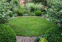 A town garden with circular lawn surrounded by a stone path and foliage plants including Buxus sempervirens balls, Miscanthus sinensis ornamental grass and Cornus alba 'Elegantissima' shrubs.